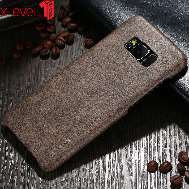 pretty nice 27229 08adf US $7.09 25% OFF|X Level Luxury Leather Case For Samsung Galaxy S8 Ultra  Light Original Back Phone Cover Coque For Samsung Galaxy S8 Plus-in Fitted  ...