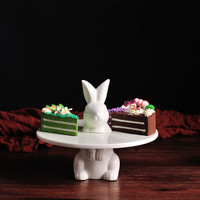 Rabbit and Plate white creative dessert plates pastry tray cake delicacy circle holder ceramic gift children food dishes cafe