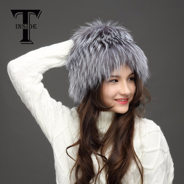 T-INSIDE 2016 Silver Fox Fur Hat  High-End Female CapNew Real Fur Hat Russia Winter Hats for Women Genuine Knitted