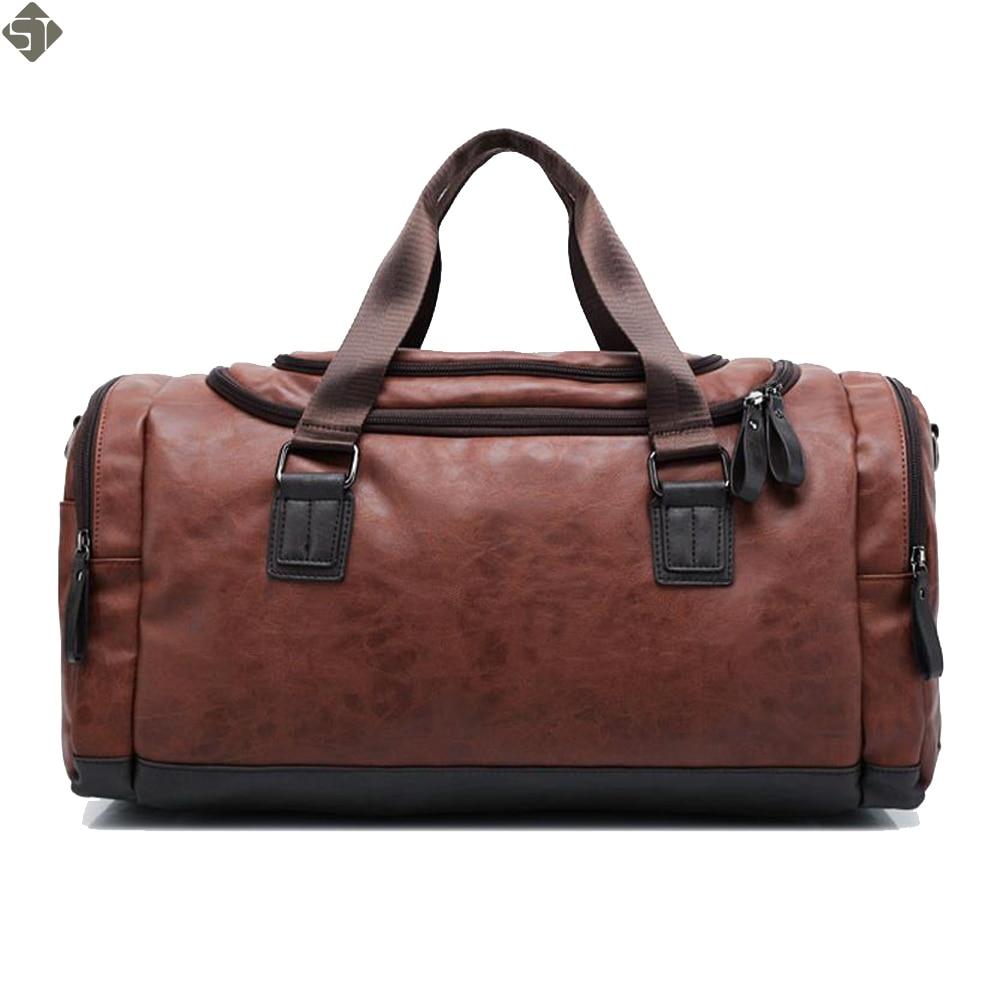 New high qual PU leather travel bag Men duffel bag large capacity bags with shoulder Strap shoulder bag leahter Handbag for Male 1