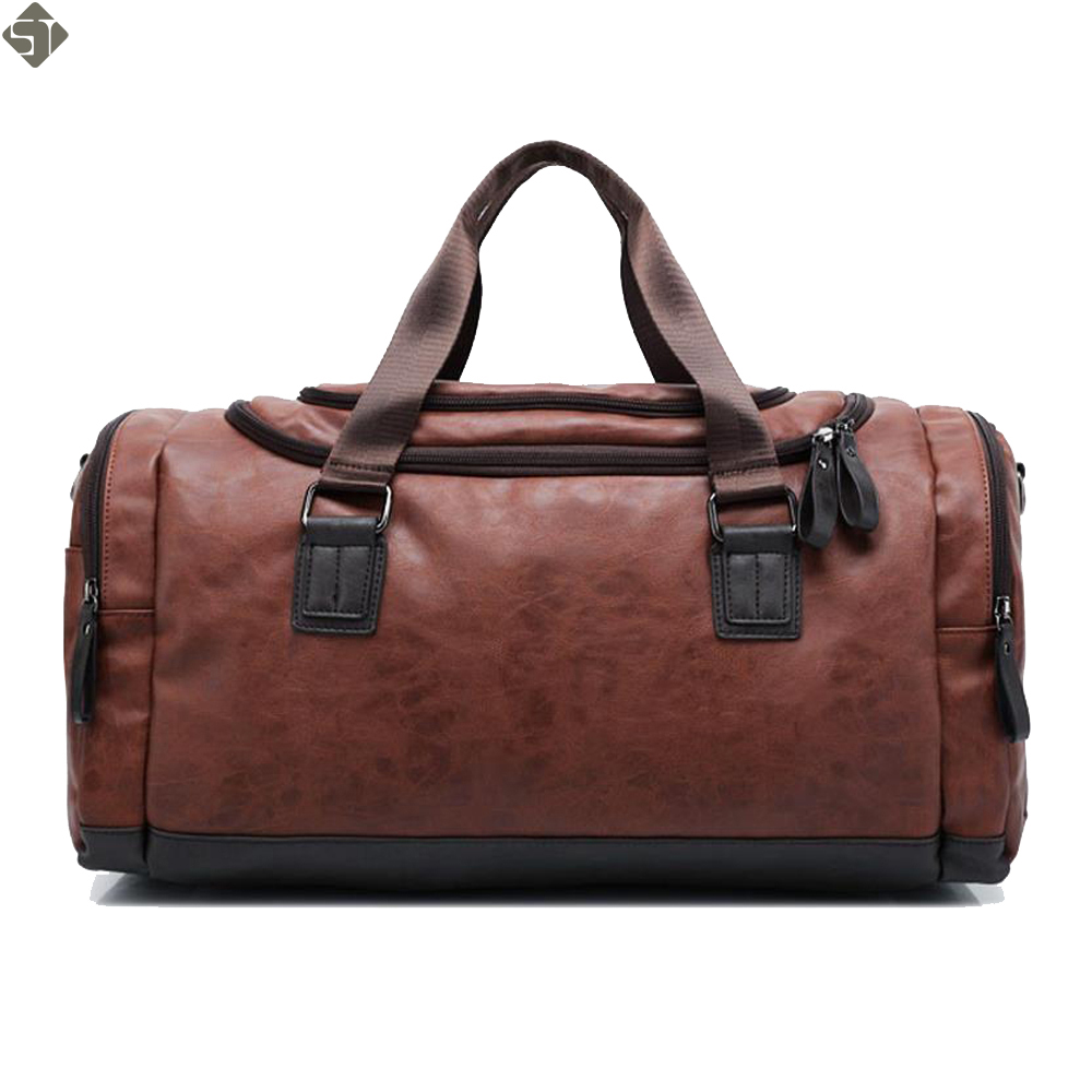 New high qual PU leather travel bag Men duffel bag large capacity bags with shoulder Strap shoulder bag leahter Handbag for Male ...