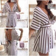 S-2XL women half sleeve deep v neck mini dress autumn spring brand striped dress belt casual leisure short dress