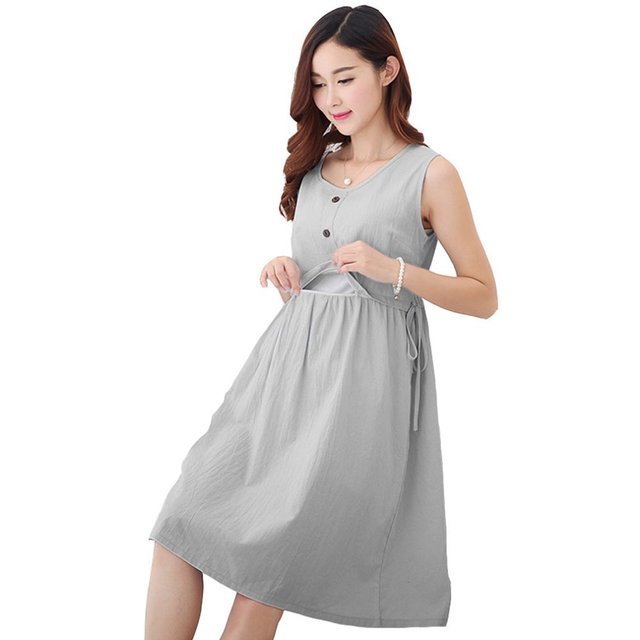 Fashion Maternity Dresses Linen Cotton Nursing Dress Breastfeeding ...