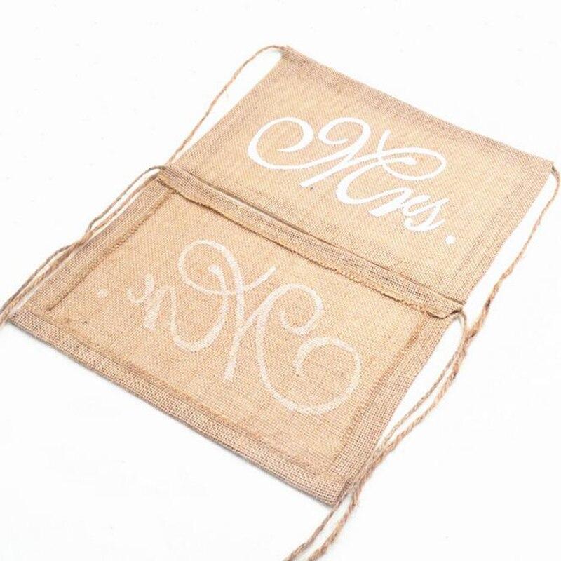 30x20 см хаки мистер и миссис мешковины стул баннер набор стул знак гирлянды деревенский Свадебная вечеринка украшения