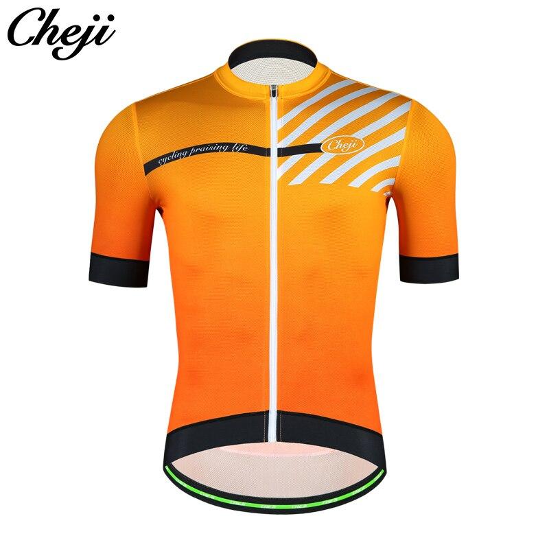 CHEJI 2018 MTB Road Bike Jersey Men Top Quality YKK zipper Black Red Orange Blue Short