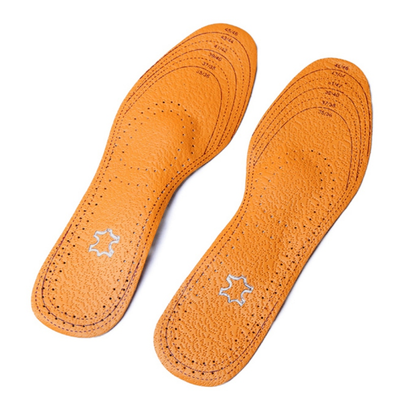 Leather pad activated carbon flat foot sweat insoles foot orthopedic insole