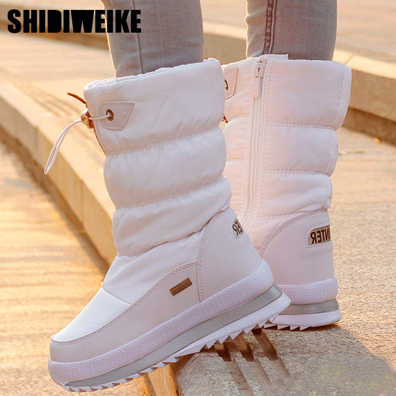 Classic Women Winter Boots Mid-Calf Snow Boots Female Warm Fur Plush Insole High Quality Botas Mujer Size 36-40 n544