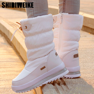 Image 1 - Classic Women Winter Boots Mid Calf Snow Boots Female Warm Fur Plush Insole High Quality Botas Mujer Size 36 40 n544