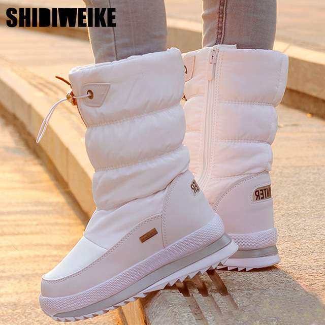 Classic Women Winter Boots Mid Calf Snow Boots Female Warm Fur Plush Insole High Quality Botas Mujer Size 36 40 n544