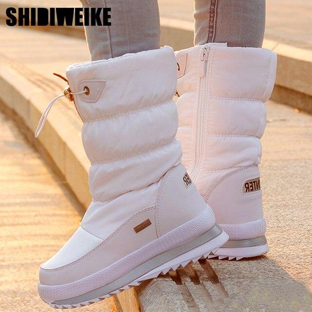 Klasik Kadın Kış Çizmeler Orta Buzağı Kar Botları Kadın Sıcak Kürk Peluş Astarı Yüksek Kaliteli Botas Mujer Boyutu 36 -40 n544