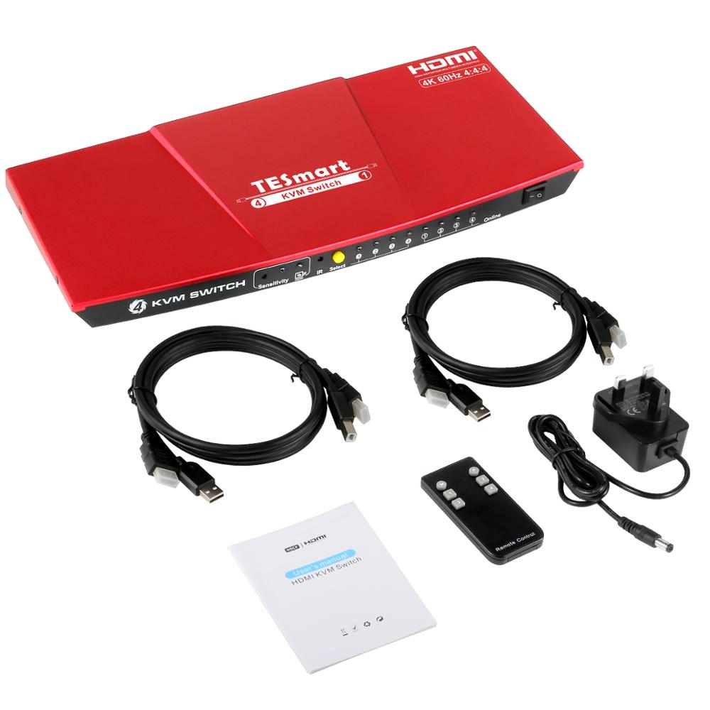 KVM Switch HDMI 4K@60Hz Ultra HD High Quality USB KVM Switcher 4 Port PCs Sharing 4 Devices Support HDR 10 And Dolby Vision