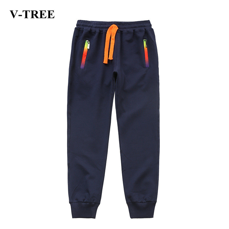 V-TREE Fatter Boys Pants Stretch Bigger Trousers For Boys Children Jogger 6-14 Years Teenage Sports Pants drawstring contrast stripe jogger pants
