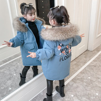 Children Winter Jackets for Girls Cotton Long Coat Parka 2019 New Hooded Zipper Solid Thick Outerwear Girl Kids Winter Clothes