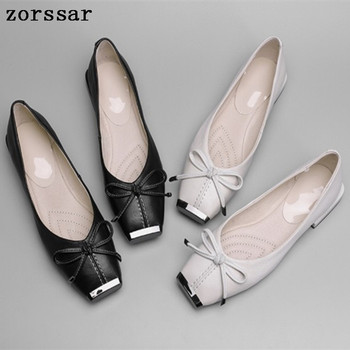 women ballet flats shoes Comfortable Women Flats Square toe shoes soft Leather Fashion Casual Slip On Shallow Women Loafers ballet flat
