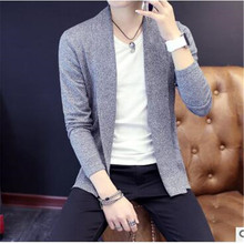 2017 new men's fashion design long-sleeved sweater tight casual sweater men's knitted cardigan autumn and winter jacket Korean v