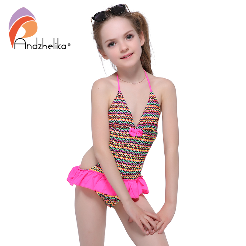Andzhelika Summer Children's Dress Swimsuit One piece 2017 New Solid Patchwork Bodysuit Children Kids bow-knot Beach swimsuit