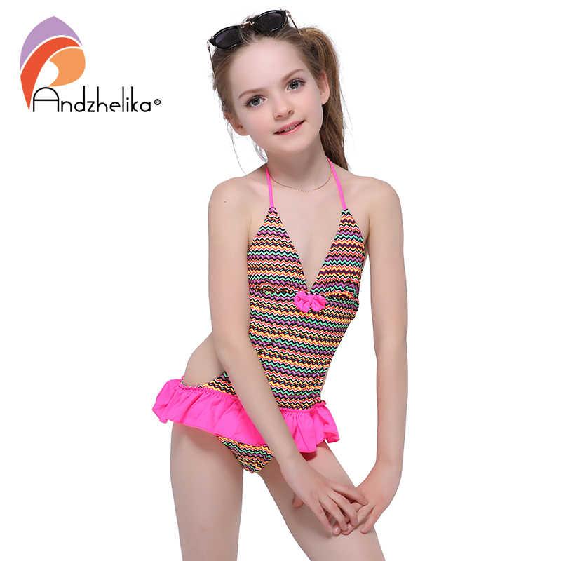 9c30c7b8ed Andzhelika Summer Children s Dress Swimsuit One piece 2017 New Solid  Patchwork Bodysuit Children Kids bow-