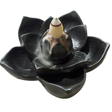 1Pcs Creative Buddhism Gifts Ceramic Incense Base Smoke Backflow Lotus Petals Censer Tower Incense Burners