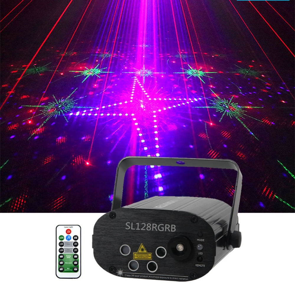 Sharelife 4 Lens Mini 128 RGRB Pattern Laser Light Music Remote Control Motor Speed DJ Gig Party Home Show Stage Lighting 128RGB