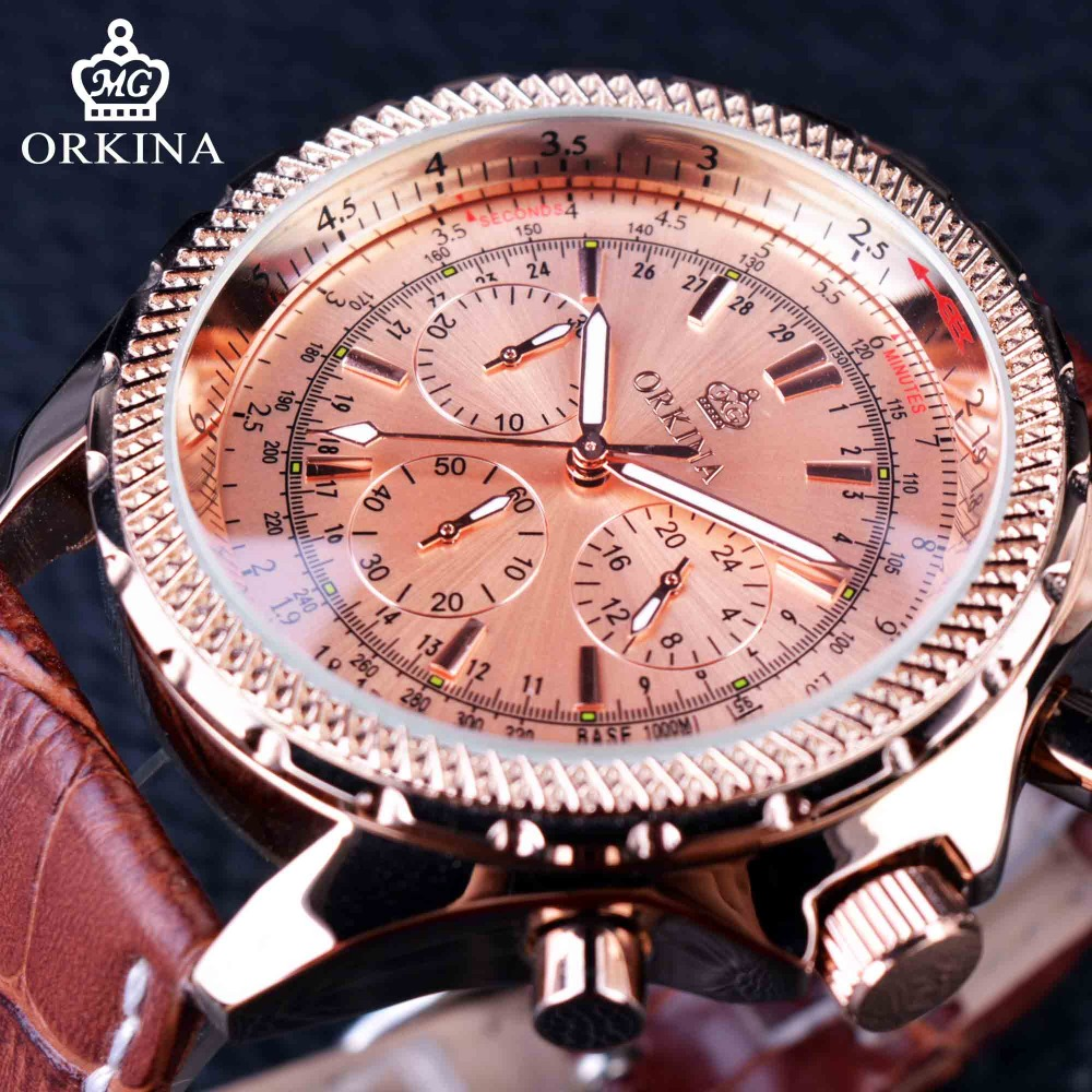 ФОТО Orkina Rose Golden Case Classic Genuine Leather Strap Luxury Series Mens Watches Top Brand Luxury Male Wrist Watch Quartz Watch
