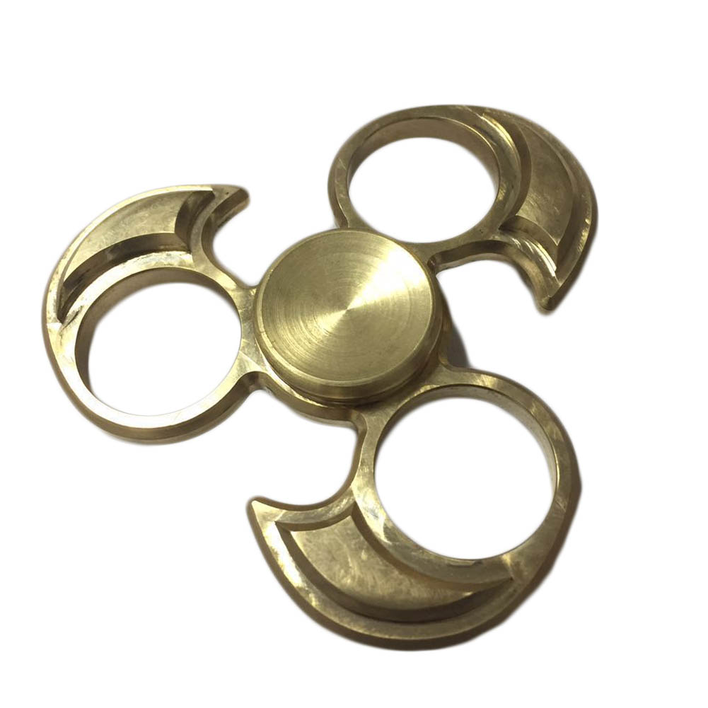 ФОТО Bat Shape Hand Spinner EDC Mixed Ceramic Bearing Tri-Spinner Fidgets Toy Gifts For Autism and ADHD Keep Hand Busy Gold Color