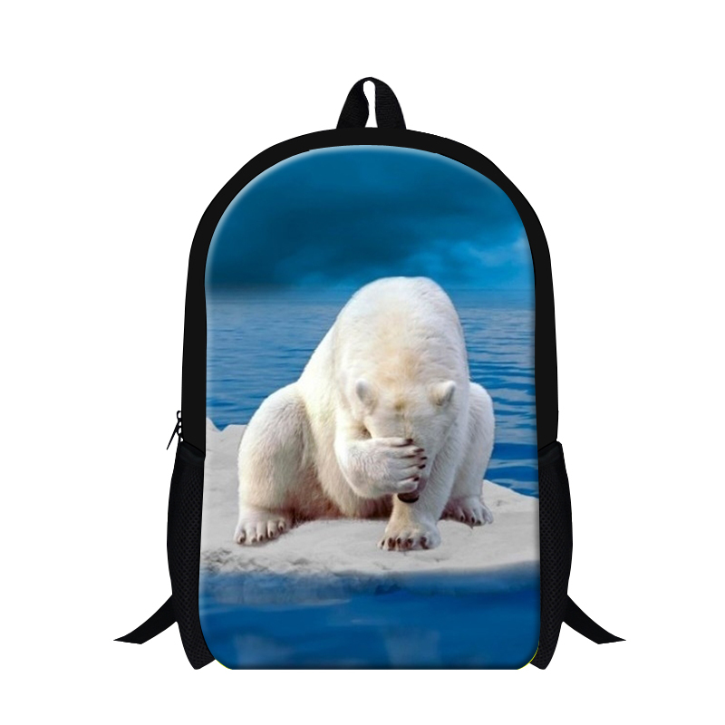 2017 3D polar bear cool animated teenager backpacks,personalized kids back packs,polyester zoo animal school bags for teen boys