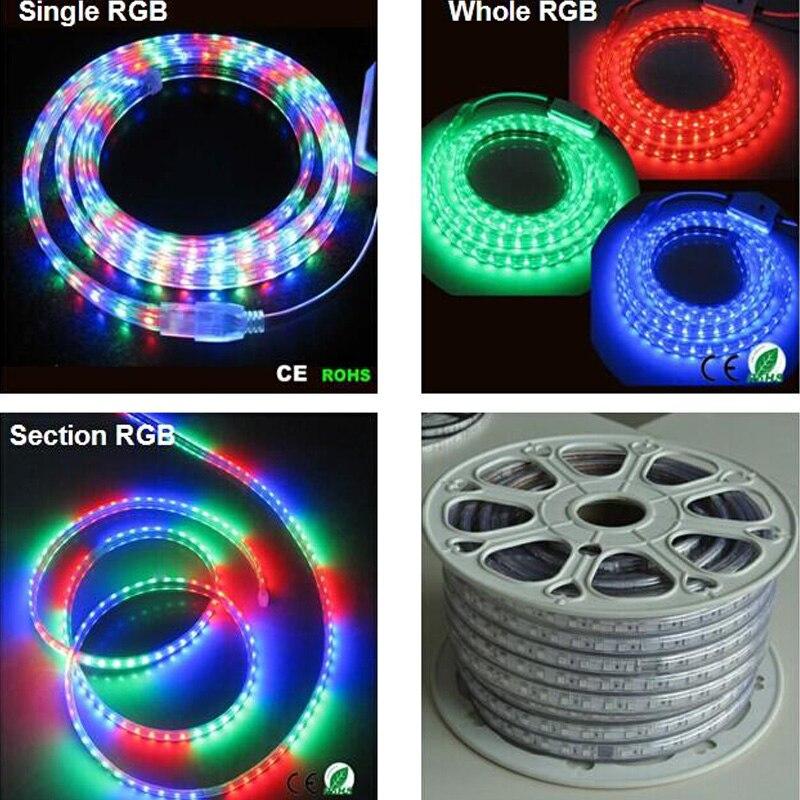 Vente 10 M 110 V/220 V haute tension SMD 5050 RGB ampoules LED lumières étanche + télécommande IR + alimentation