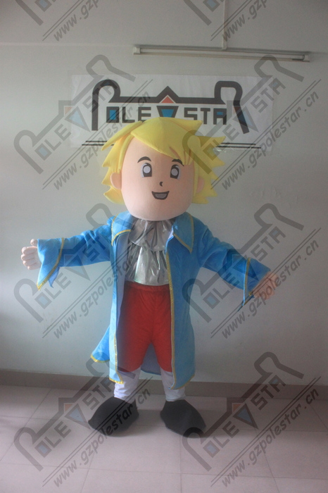 blue coat prince mascot costumes pirate costumes EVA head quality smile boy walking actor