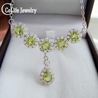 100% real natural peridot silver necklace natural peridot necklace 925 sterling silver peridot jewelry birthday gift for woman