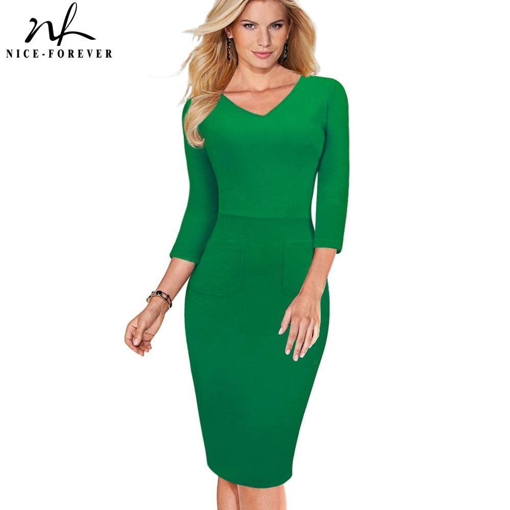 Nice-forever Vintage Elegant V-Neck Bodycon Solid Color Vestidos 3/4 Sleeve Brief Formal Business Work Women Dress G683