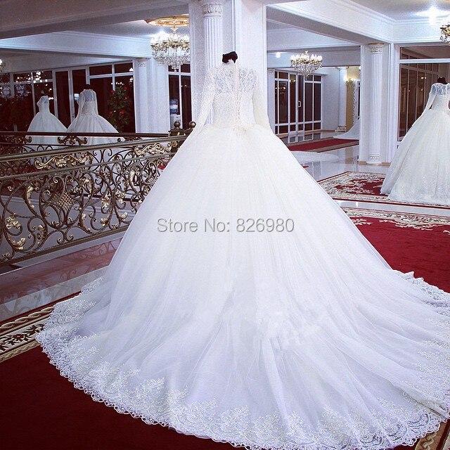 093ae0cf US $238.99 |Turcja Arabski Muzułmanin hidżab Długim Rękawem Sukni Ślubnej  Perły Zroszony Lace Wysoka Neck Prawdziwa Próba Islamskich Suknie ...