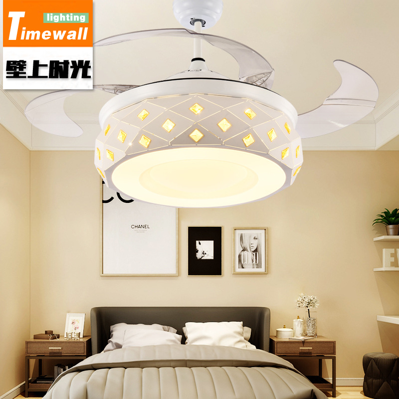 Concealed ceiling fan lamp bedroom living room dining room fan lamp simple modern home crystal fan pendant lamp simple crystal hidden ceiling fan lamp restaurant fan room living room bluetooth music live fan lamp home romance