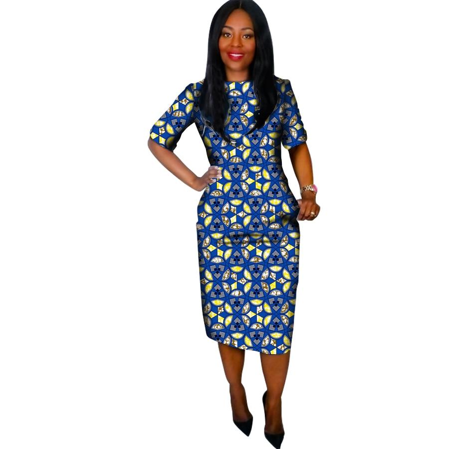 Fashion African printing Women Half Sleeve Dresses Custom Made Dashiki Print Clothes African Festive Dress Party Costume