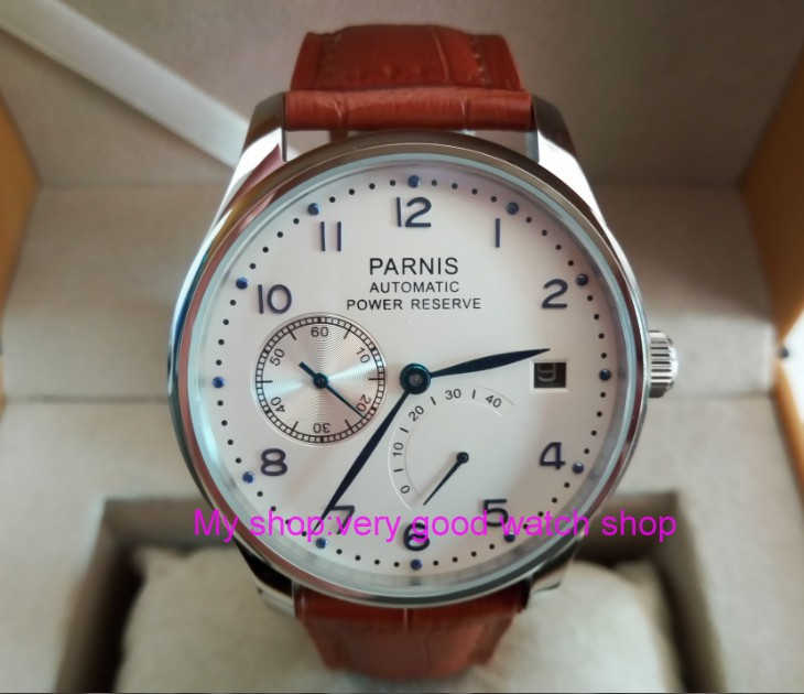 43mm PARNIS White dial power reserve Automatic Self-Wind Mechanical movement men's watch Mechanical watches f6 43mm parnis black dial automatic self wind mechanical movement power reserve mechanical watches men s watch x00066