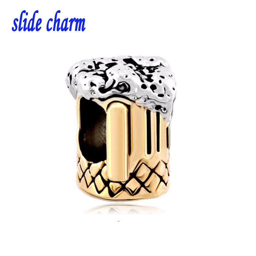 slide charm Free shipping Mothers Day beer mug gold the luxury brands charm beads fit Pandora charm bracelet Christmas