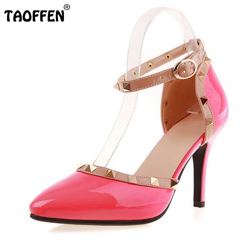 women high heel shoes lady sexy dress footwear rivets fashion lady spring heels pumps P11607 hot sale size 31-41
