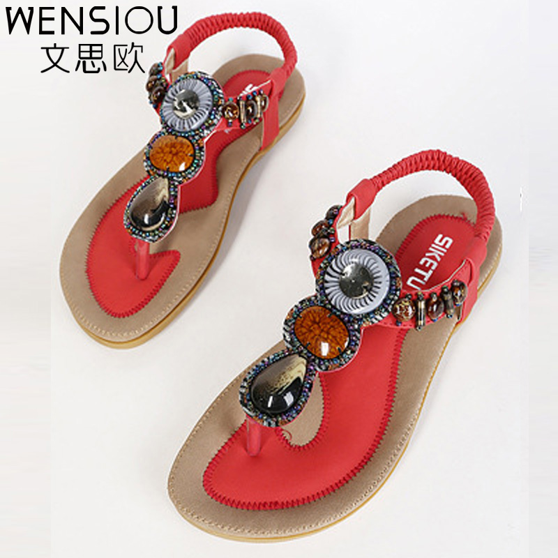 New Fashion Women Sandals Shoes 2017 Summer Bohemia Sweet Beach women Ladies Flats Sandals women lateher