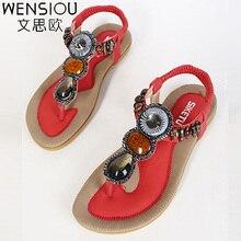 New Fashion Women Sandals Shoes 2017 Summer Bohemia Sweet Beach women Ladies Flats Sandals women lateher