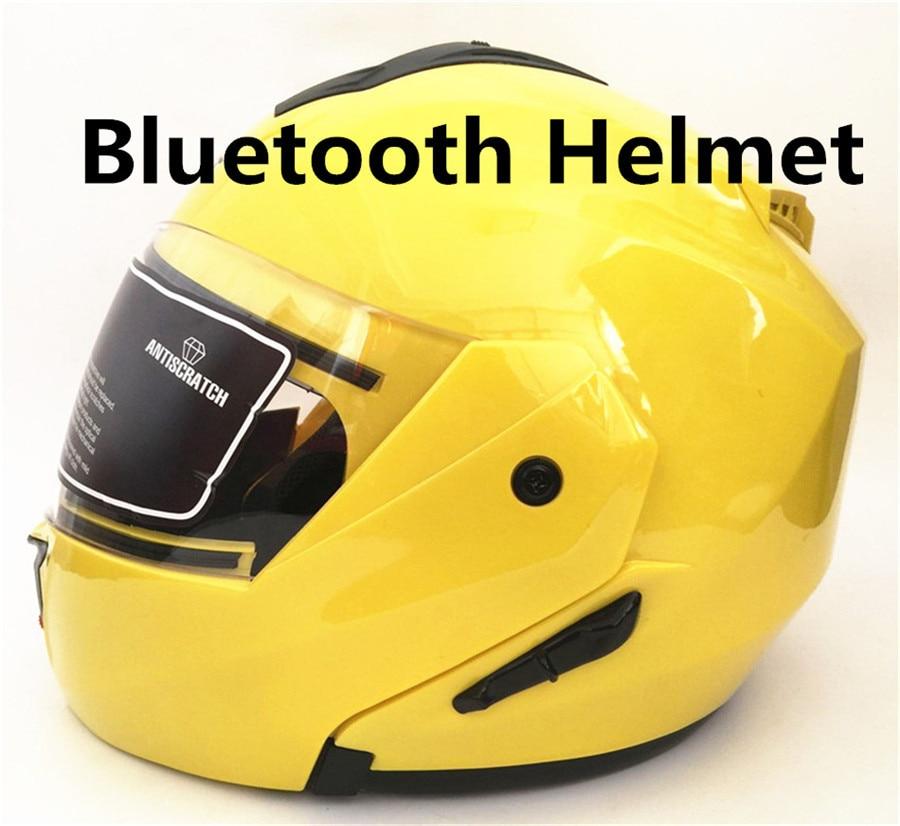 free shipping 2018 New Motorbike Bluetooth Flip Up Helmet Motorcycle Built in Intercom FM System DOT Standard Casque