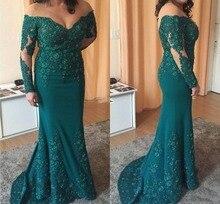 Green Plus Mermaid Mother Of The Bride Dresses Off the Shoulder Long Sleeve Appliques Beads Women Weddings vestido de madrinha