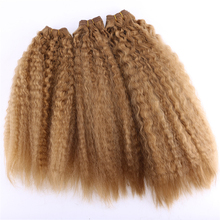 Golden Kinky Straight Hair Bundles 16 20 inch 3 pieces/pack 210 Gram Synthetic Weave Hair Extensions for women