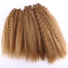 Ouro Kinky Feixes de Cabelo Retas 16 20 polegada 3 peças/pacote 210 grama Sintética Weave Extensões Do Cabelo para as mulheres