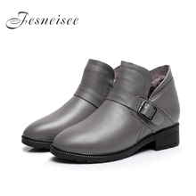 2017 New Autumn Winter lady Square Heels Short Shoes Genuine Leather Boots Side Buckle Women Ankle Boots Size34-43 for female
