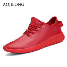 Men Shoes 2016 Red Breathable Pu Casual Shoes Men Lace Up Flat With Unisex Fashion Couple Shoes Trainers Basket Femme