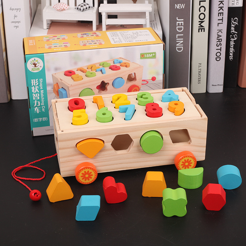 Toys & Hobbies Model Building Childrens Early Education Wooden Geometric Shape Seventeen Holes Paired Trailer Building Blocks Toy Color Cognition