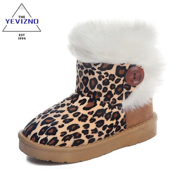 YEVIZNO 2016 дети зимняя обувь Leopard Дети Снегоступы Для девушки Парни Теплые Сапоги Обувь Повседневная Плюшевые Ребенок Малыш обуви