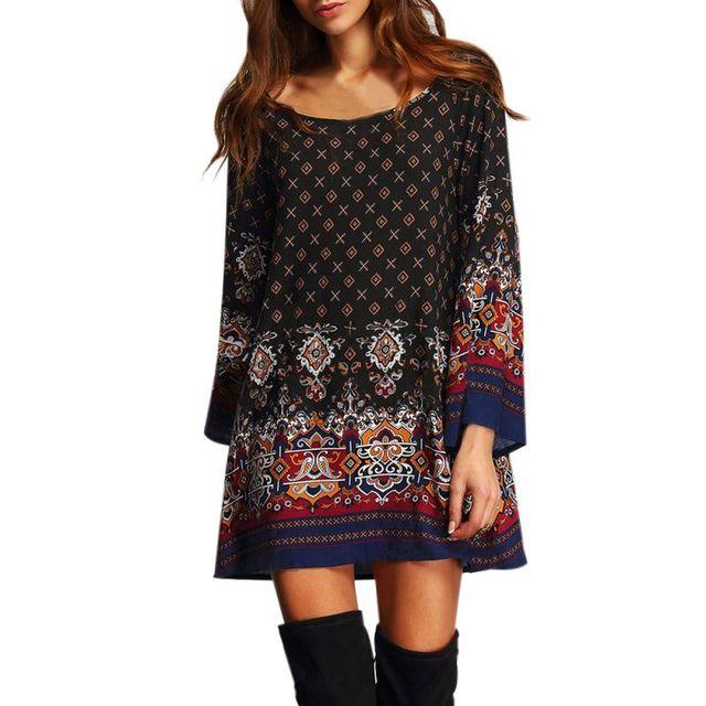 Vintage Print Loose Summer Dresses 2018 New Geometric Clothing Boho Multicolor O Neck Long Flare Sleeve Print Ladies Vestidos