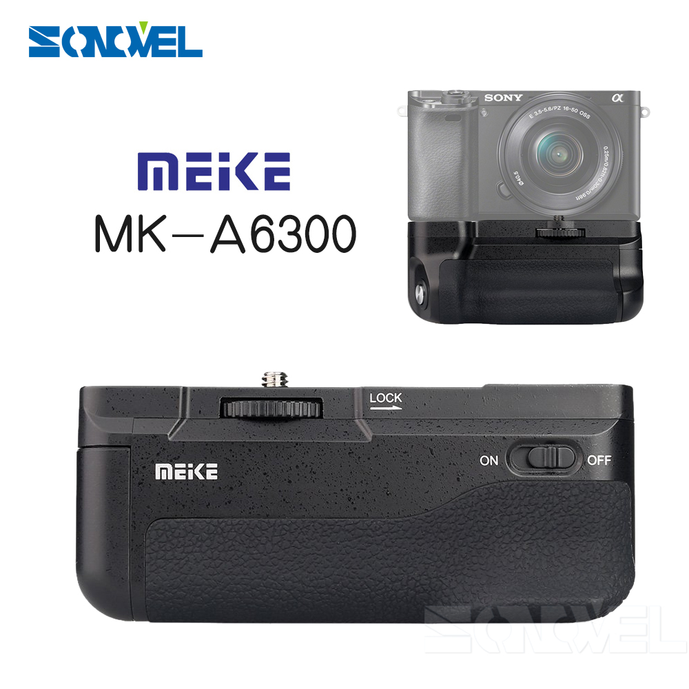 Meike MK-A6300 Vertical Battery Grip hand pack holder For Sony A6300 A6000 ILCE-6300 ILCE-6000 meike mk a6300 pro remote control battery grip 2 4g wireless remote control for sony a6300 ilce a6300 np fw50