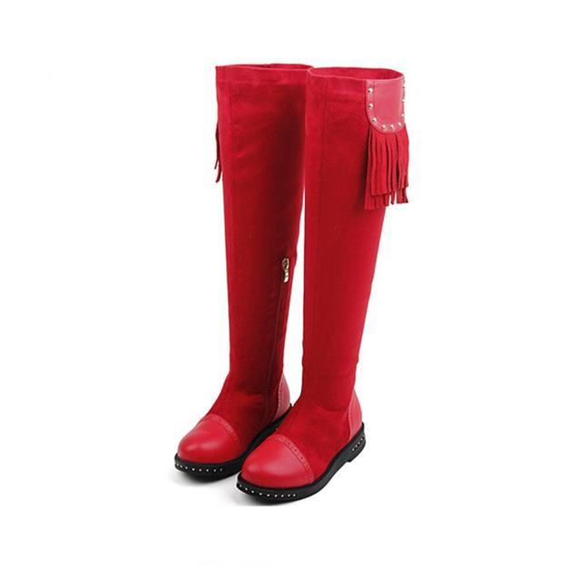 2016 Niños de Invierno Botas de Ante de La Borla de Fimbriado Niños Invierno Nieve Botas Redonda de alto Over-the-Knee Botas de Niñas zapatos