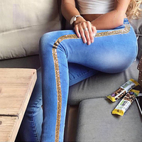 Vrouwen Lente Side Gold Sequin Strepen Jeans Laagbouw Bodycon Stretchy Ripped Lange Denim Broek Vrouwelijke Bodem